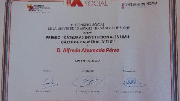 PREMIO -CÁTEDRAS INSTITUCIONALES UMH
